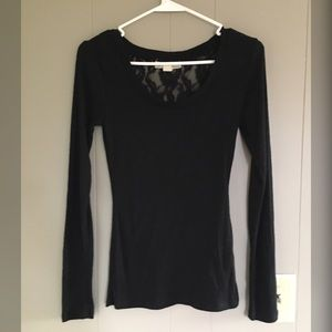 Long Sleeve Tee with Lace Insert on Back